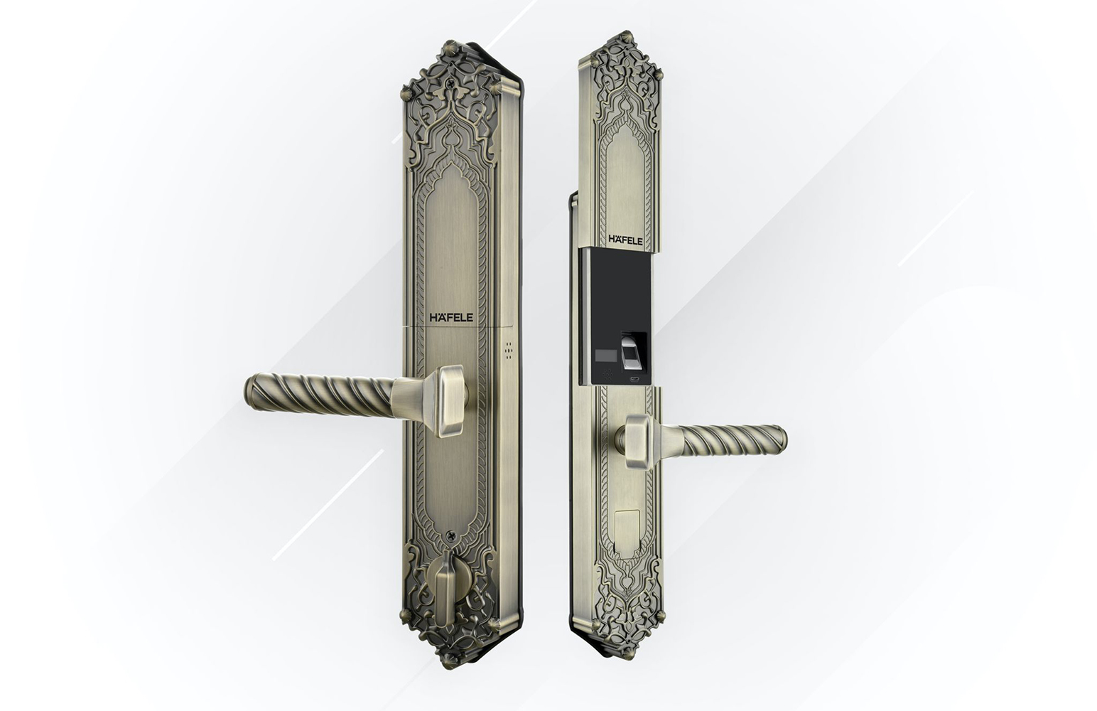 Khóa EL10K của Häfele với màu đồng và thiết kế giả cổ là lựa chọn lý tưởng của các ngôi nhà theo phong cách kiến trúc cổ điển
