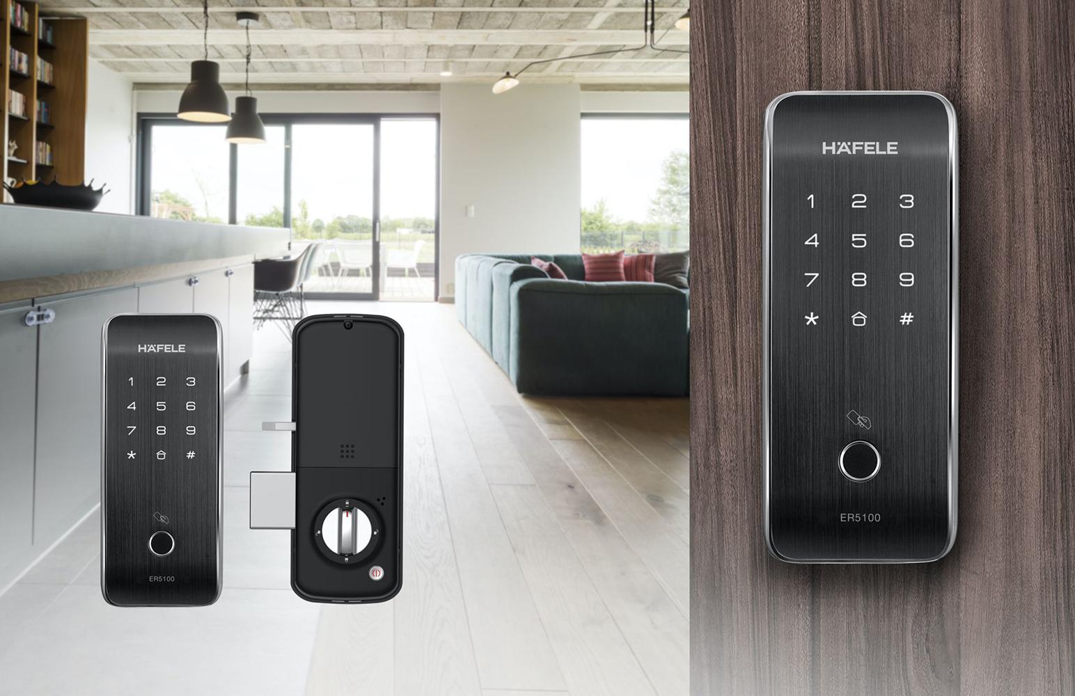 Khóa điện tử không tay nắm ER5100 của Häfele phù hợp với cửa sắt lẫn cửa gỗ.